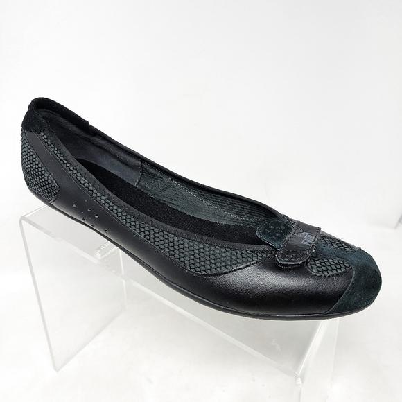 Puma Eco Ortholite Womens 11 US Black Leather Flat